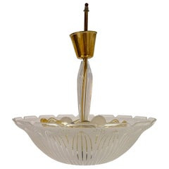 Large Swedish Orrefors Textured Glass Ceiling Fixture