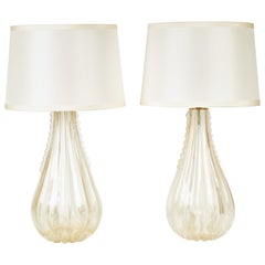 Pair of Gold Venetian Teardrop Lamps with Pongee Silk Shades