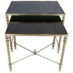 Two Maison Jansen Brass Nesting Tables