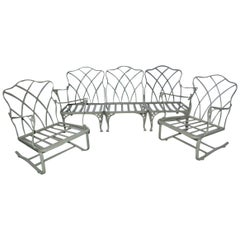 Five-Piece Painted Wrought Iron Spring Rocker Lounging Set