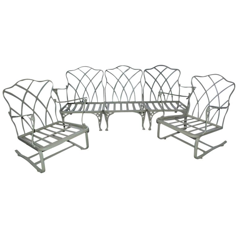 Five-Piece Painted Wrought Iron Spring Rocker Lounging Set For Sale