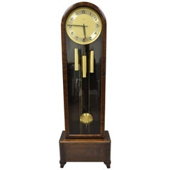 French Art Deco Dome Top Mahogany Grandfather Clock by Mauthe Westminster Chime