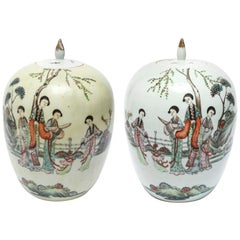 Chinese Qing Style Enameled Ceramic Ginger Jars
