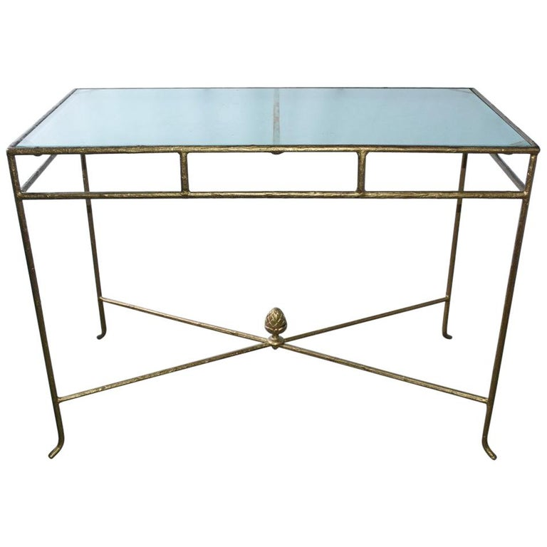 Gilt Wrought Iron and Frosted Glass Console Table For Sale