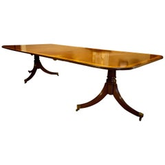 Regency Style Mahogany 2-Pedestal Dining Table, Seats 12