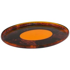 Faux Tortoiseshell Serving Oval Tray Centerpiece in Lucite, 1970s, Italy