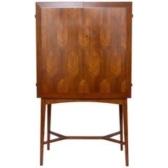 Scandinavian Modern Mahogany Cabinet with Double Parquetry Doors