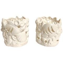 Blanc De Chine Pierced Fish Cachepots, Pair