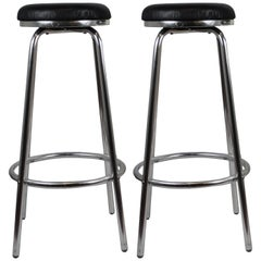Italian High Stools, Aluminium Legs, Black Leather Seats