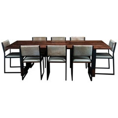 Richmond Table and 8 Shaker Chairs in Walnut, Leather & Cow Hide
