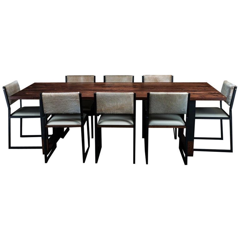 Richmond Table and 8 Shaker Chairs in Walnut, Leather & Cow Hide For Sale