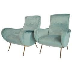 Italian Midcentury Armchairs Restored in Mint Green Soft Velvet, 1950s