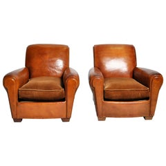 Pair of Art Deco French Leather Club Chairs, circa 1940