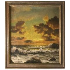 Framed Sunset Seascape Oil on Canvas