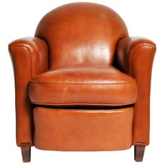 Art Deco French Leather Armchair, circa 1940