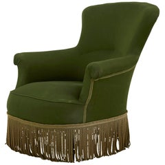 French Victorian Green Armchair with Bullion Fringe