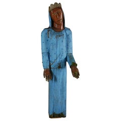 Life-Sized 20th Century Naive Black Madonna Carving