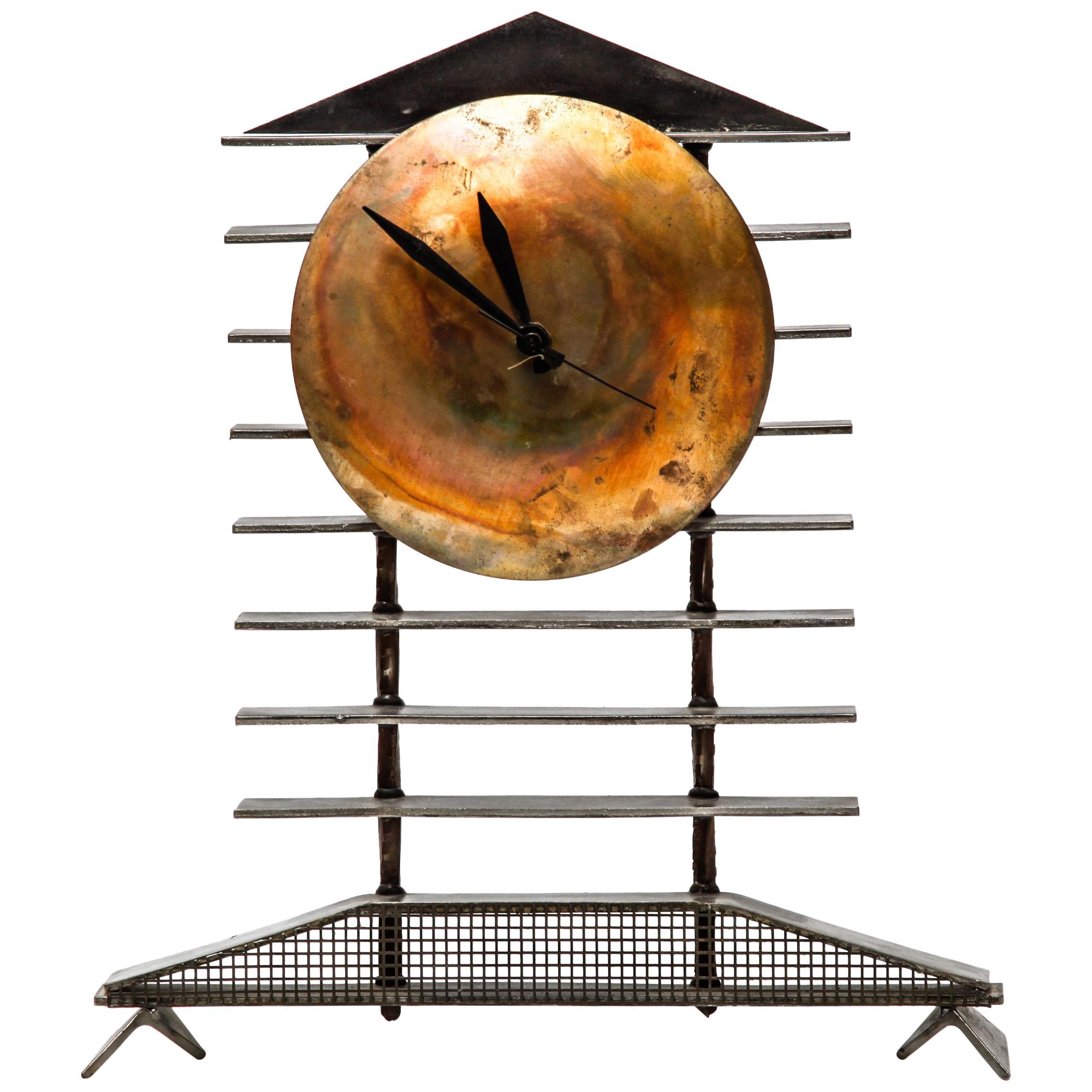 Post-Modernist Metal Mantel Clock