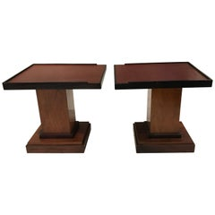 Pair Leather Top Coffee Tables, France, 1970s