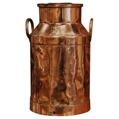 19th Century French Polished Copper Plated Milk Container with Handles and Lid