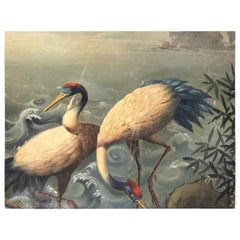 19th Century Pair of Cranes Oil on Canvas