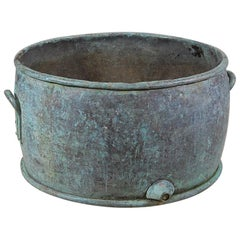 Large 19th Century English Verdigris Copper Boiler Planter