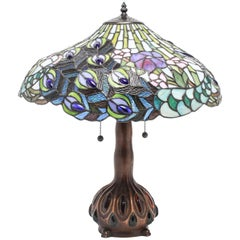 Tiffany Style American Art Nouveau Stained Glass Peacock Feather Table Lamp