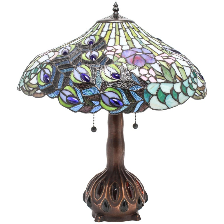 Tiffany Style American Art Nouveau Stained Glass Peacock Feather