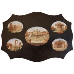 Ardesia Paperweight with Micromosaic Roman Views Gran Tour, 1850s