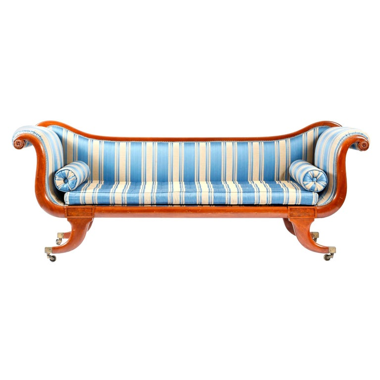Scroll End Sofa In Blue Striped Fabric