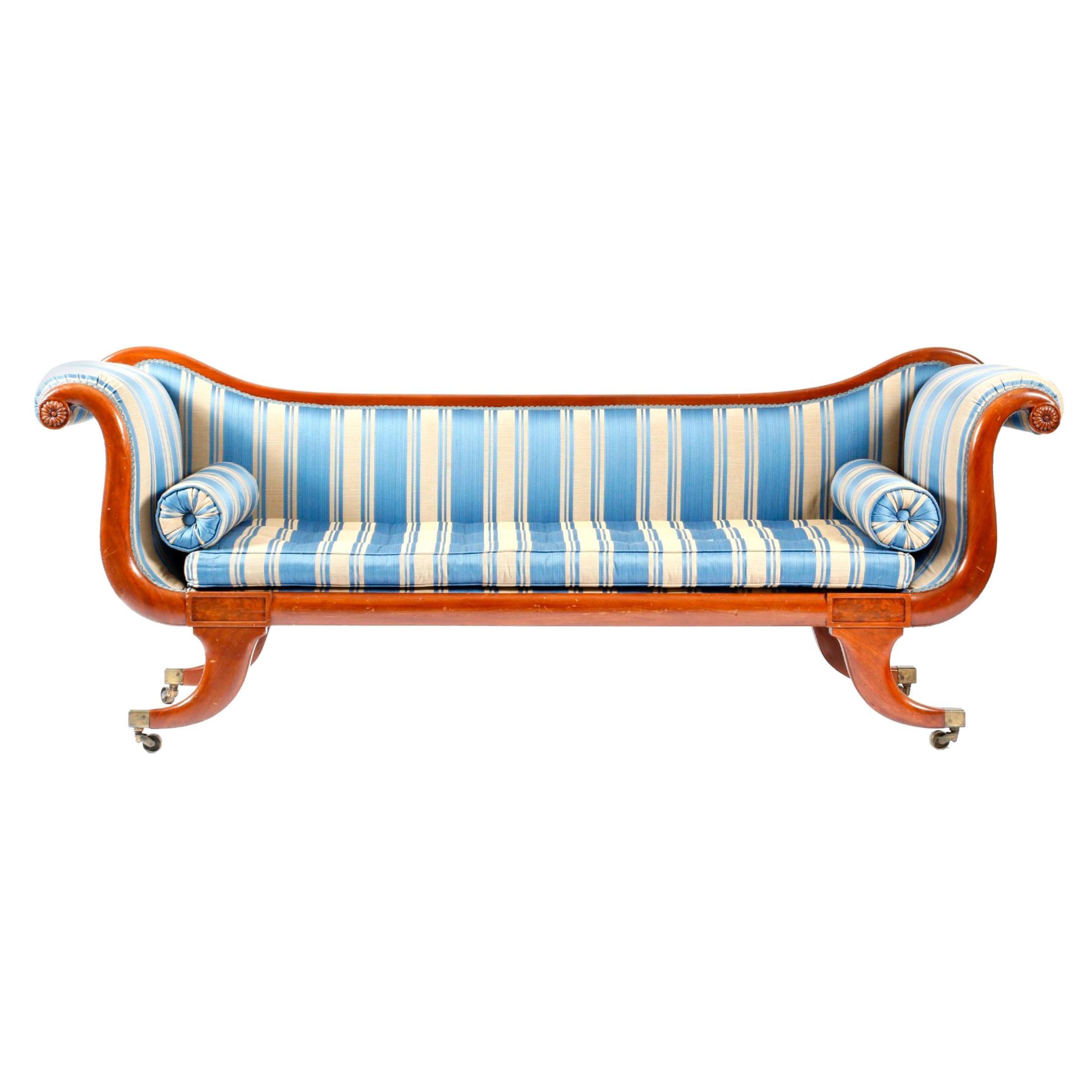 Late Regency Mahogany Scroll End Sofa In Blue Striped Fabric, England