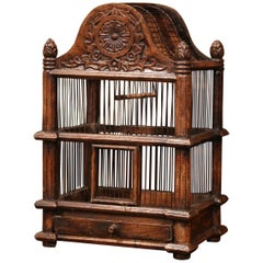 French Carved Walnut and Wire Birdcage with Arched Top