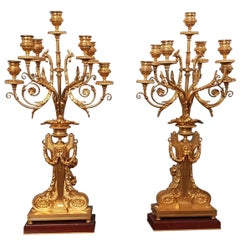 Barbedienne Pair of Large Gilded Bronze Candelabras, 1880s