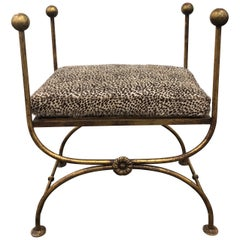 Midcentury Italian Gold Leaf Iron Bench