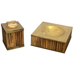 Set of Bamboo Lucite Brass Ashtray Table Lighter Gabriella Crespi, Italy, 1970s