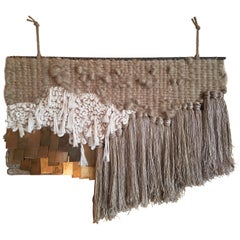 Neutral Fiber Art Weaving with Brass by All Roads