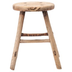 Early 20th Century Chinese Provincial Flat-Sawn Stool