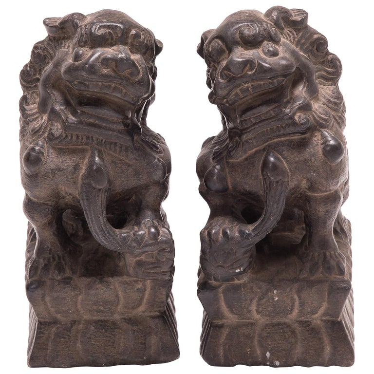 Pair of 19th Century Chinese Guardian Fu Dogs For Sale