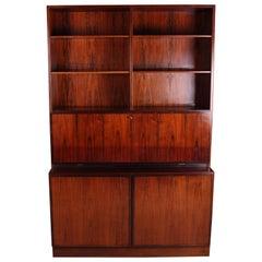 Danish Rosewood Bookcase Bureau by Omann Jun Model No. 9