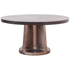 Neolith Table in Charred Maple and Silver Plated Bronze