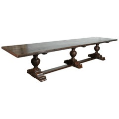 Exceptional 19th Century Solid Walnut Louis XIII Style Chateau Trestle Table