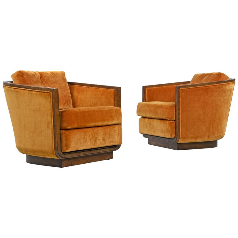 Original Drexel Heritage Persimmon Sunset Velvet Club Chair Set, circa 1970s For Sale