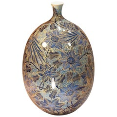 Japanese Contemporary Imari Gilded Blue Porcelain Vase by Master Artist