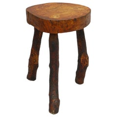 Live Edge Stool Olive Primitive Brutalist French circa 1920 Vine Root