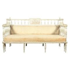 19th Century Swedish Neoclassical Carved and Painted Sofa Bench