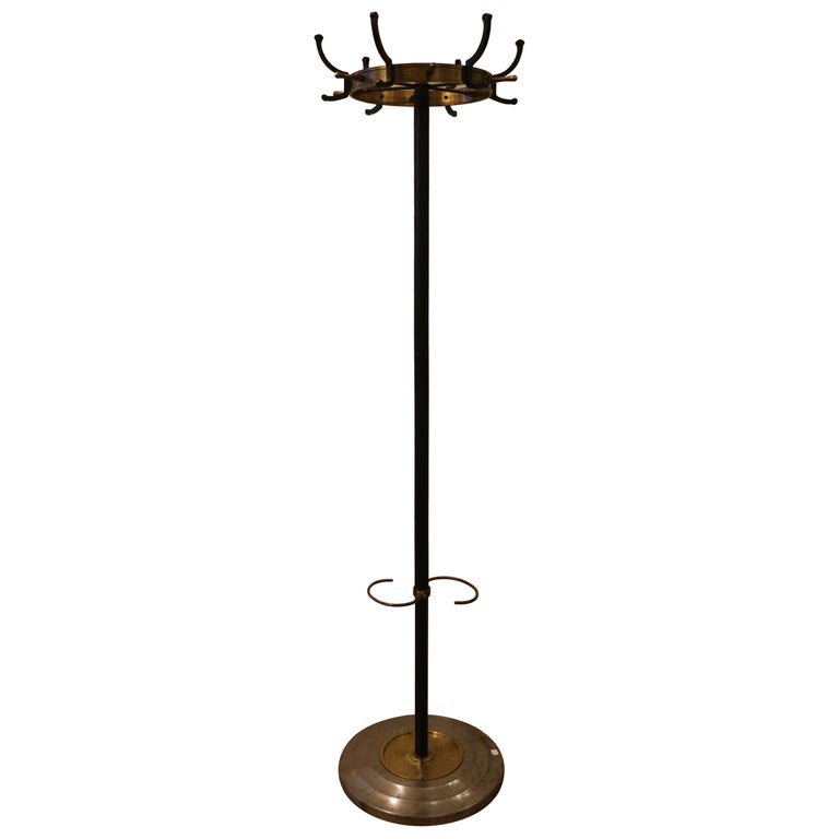 Rare Coat Stand by Jacques Adnet, Stitched Leather, 1950s For Sale