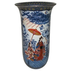 Large Blue Red Porcelain Vase by Japanese Master Artist