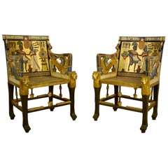 Gilded and Lacqured Wood English Egyptian Revival Armchairs, 19th Century