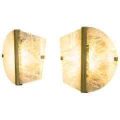 """Twobe"" Wall Lamp cast brass, Rock Crystal, Led Light, Handmade in Tuscany Italy"