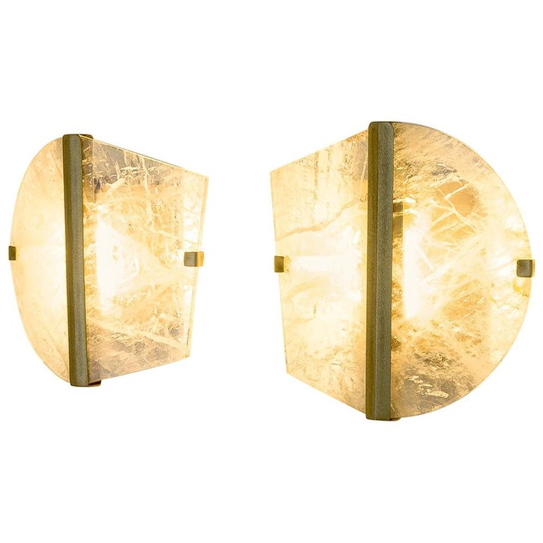 """Twobe"" Wall Lamp cast brass, Rock Crystal, Led Light, Handmade in Tuscany Italy 1"